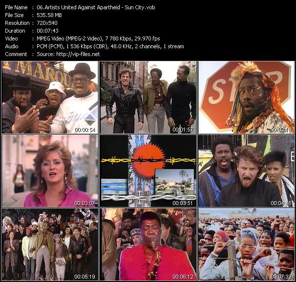Artists United Against Apartheid video vob