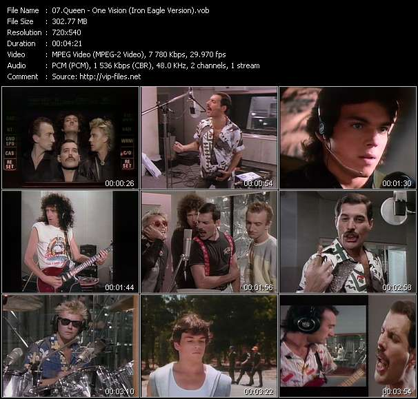Screenshot of Music Video Queen - One Vision (Iron Eagle Version)