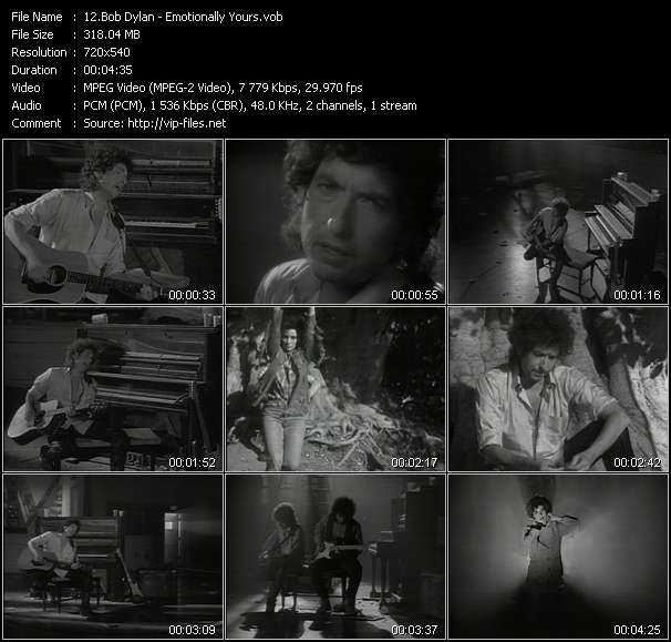 Screenshot of Music Video Bob Dylan - Emotionally Yours