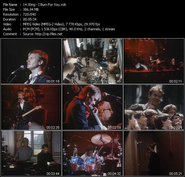 Screenshot of Music Video Sting - I Burn For You