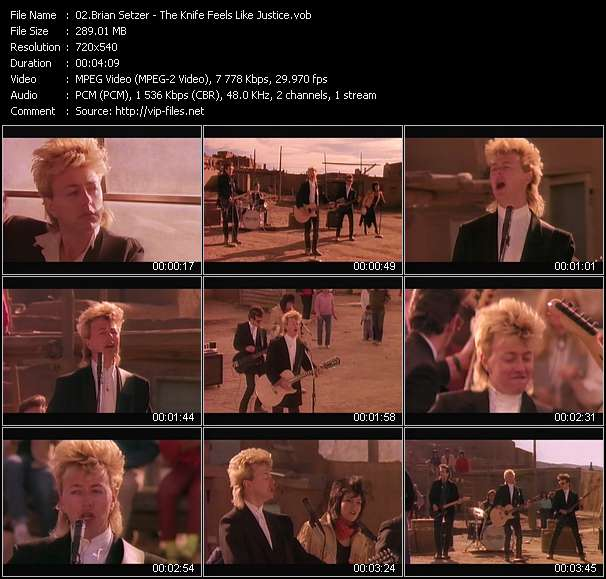 Screenshot of Music Video Brian Setzer - The Knife Feels Like Justice
