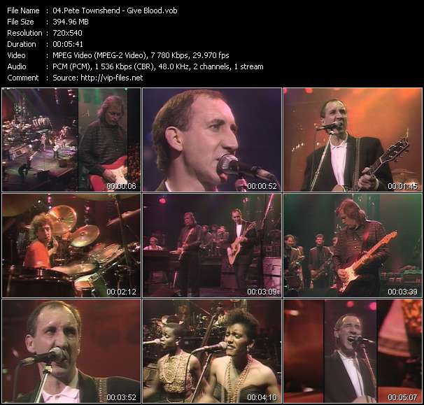 Screenshot of Music Video Pete Townshend - Give Blood