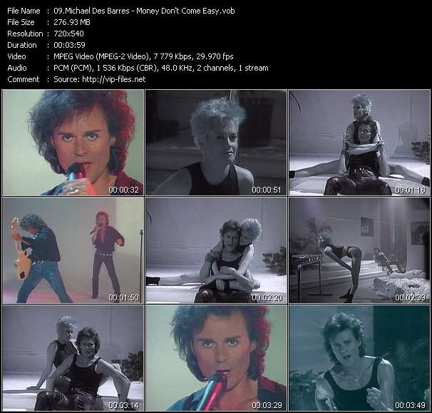 Screenshot of Music Video Michael Des Barres - Money Don't Come Easy