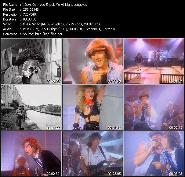 Screenshot of Music Video Ac-Dc - You Shook Me All Night Long