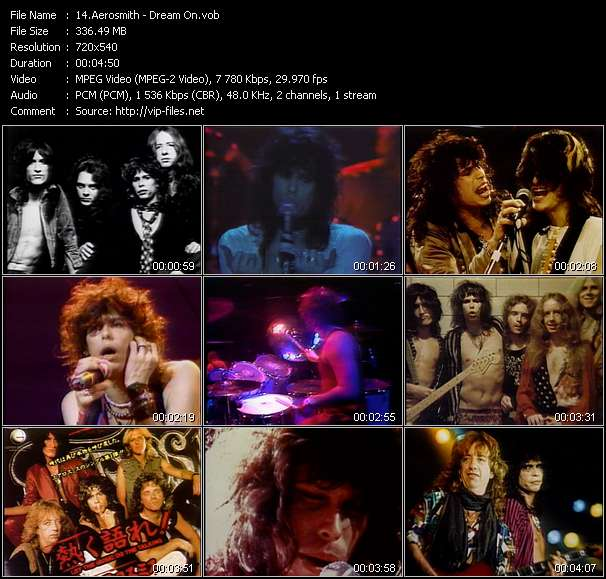 Screenshot of Music Video Aerosmith - Dream On