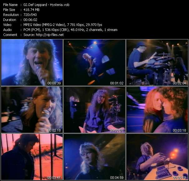 Screenshot of Music Video Def Leppard - Hysteria