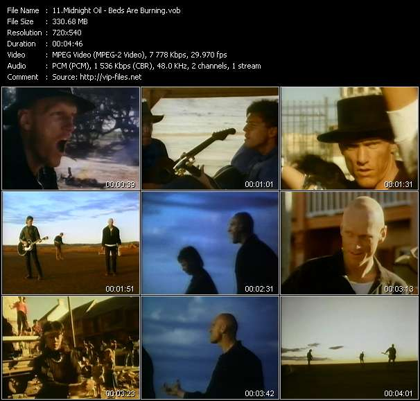 Screenshot of Music Video Midnight Oil - Beds Are Burning