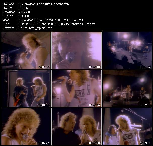 Screenshot of Music Video Foreigner - Heart Turns To Stone