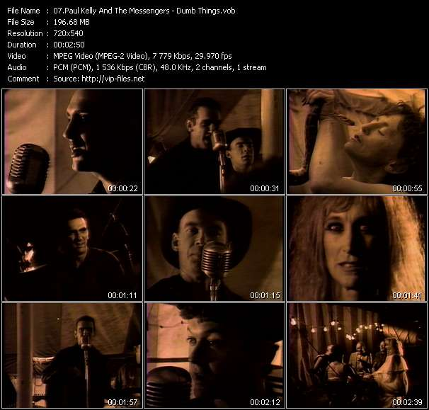 Screenshot of Music Video Paul Kelly And The Messengers - Dumb Things