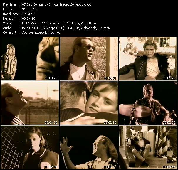 Screenshot of Music Video Bad Company - If You Needed Somebody