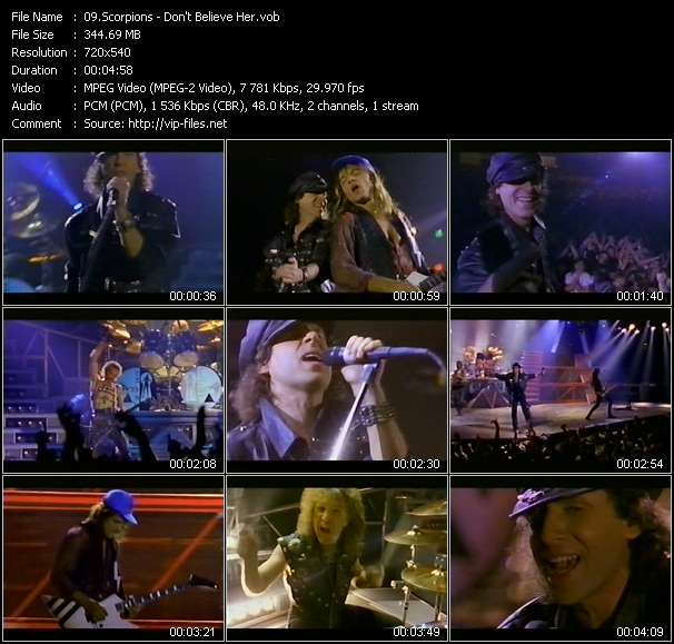 Screenshot of Music Video Scorpions - Don't Believe Her