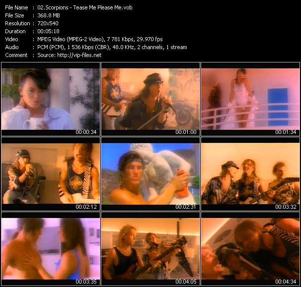 Screenshot of Music Video Scorpions - Tease Me Please Me