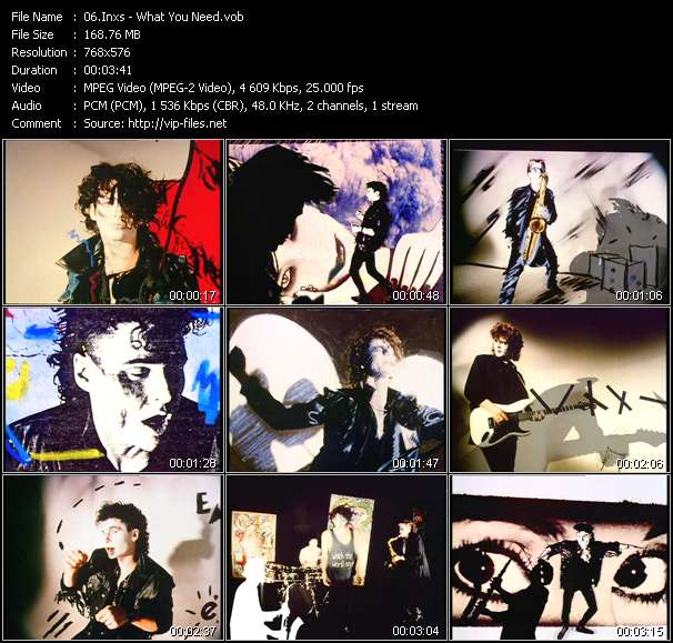 Screenshot of Music Video Inxs - What You Need