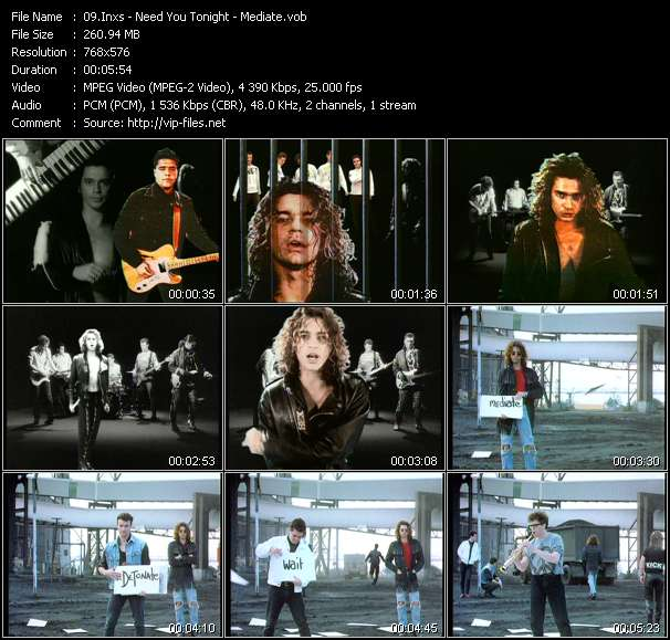 Screenshot of Music Video Inxs - Need You Tonight - Mediate