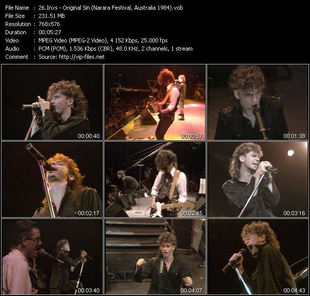 Screenshot of Music Video Inxs - Original Sin (Narara Festival, Australia 1984)
