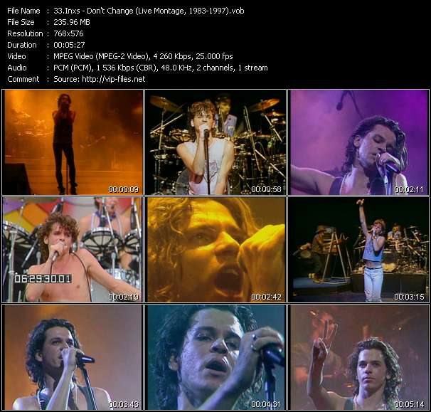 Screenshot of Music Video Inxs - Don't Change (Live Montage, 1983-1997)