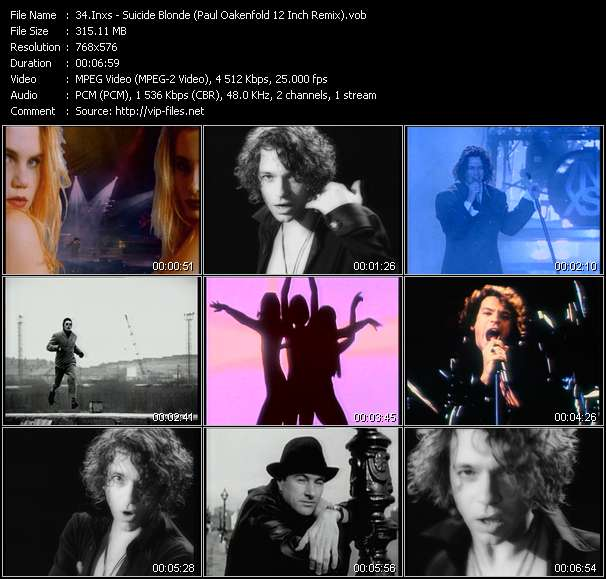 Screenshot of Music Video Inxs - Suicide Blonde (Paul Oakenfold 12 Inch Remix)