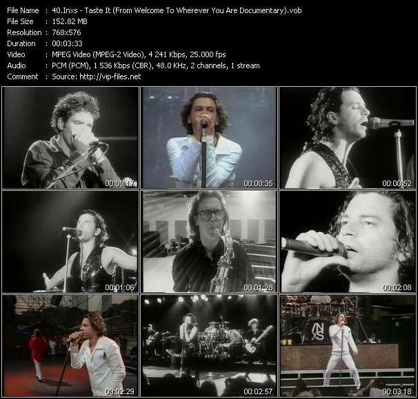 Screenshot of Music Video Inxs - Taste It (From Welcome To Wherever You Are Documentary)