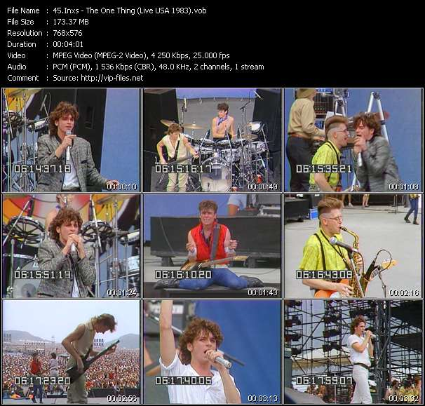 Screenshot of Music Video Inxs - The One Thing (Live USA 1983)