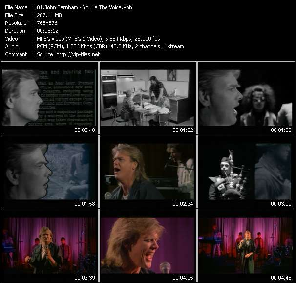 Screenshot of Music Video John Farnham - You're The Voice