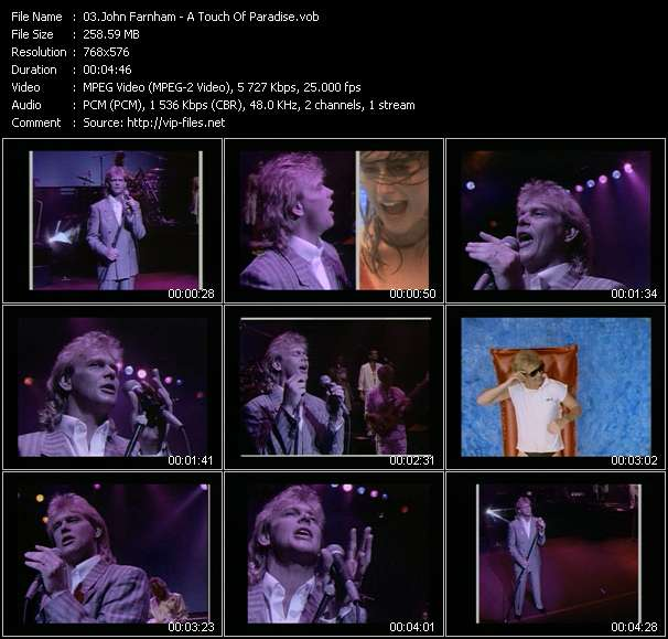 Screenshot of Music Video John Farnham - A Touch Of Paradise
