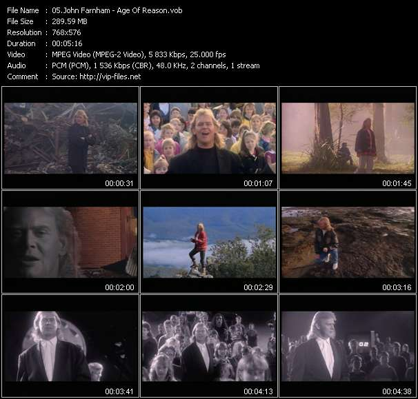 Screenshot of Music Video John Farnham - Age Of Reason