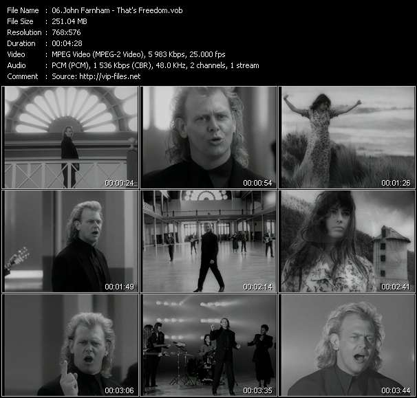 Screenshot of Music Video John Farnham - That's Freedom