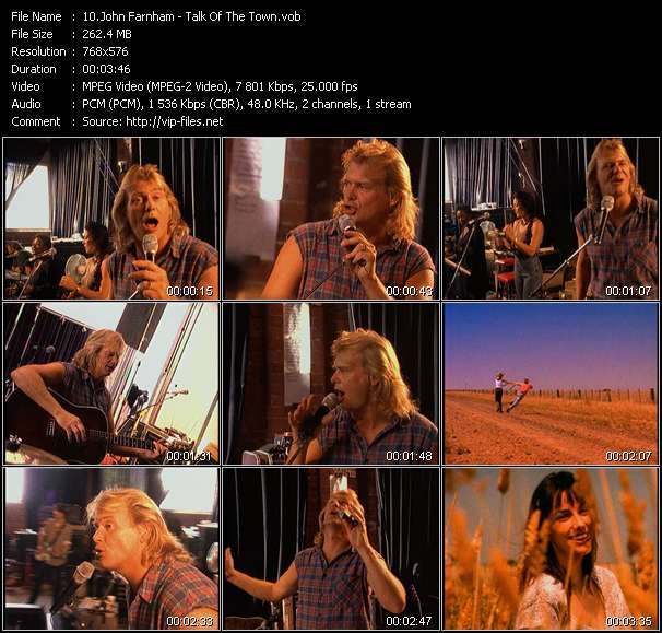 Screenshot of Music Video John Farnham - Talk Of The Town