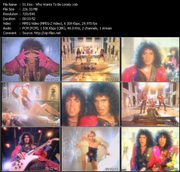 Screenshot of Music Video Kiss - Who Wants To Be Lonely