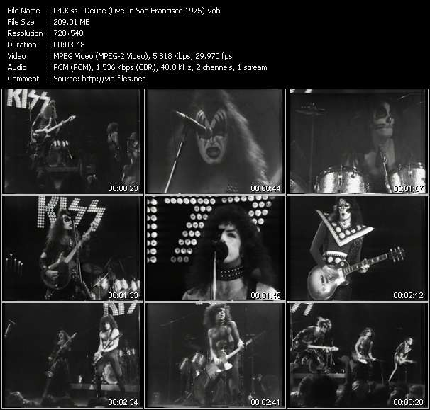 Screenshot of Music Video Kiss - Deuce (Live In San Francisco 1975)