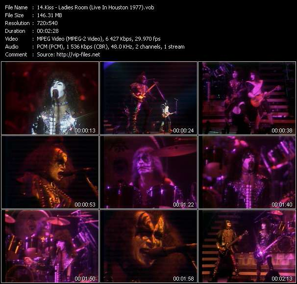 Screenshot of Music Video Kiss - Ladies Room (Live In Houston 1977)