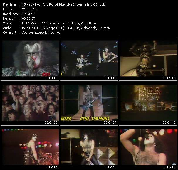 Screenshot of Music Video Kiss - Rock And Roll All Nite (Live In Australia 1980)