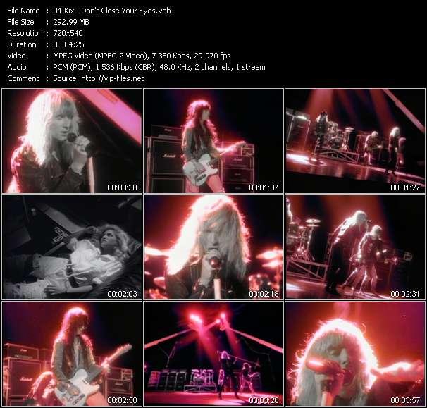Screenshot of Music Video Kix - Don't Close Your Eyes