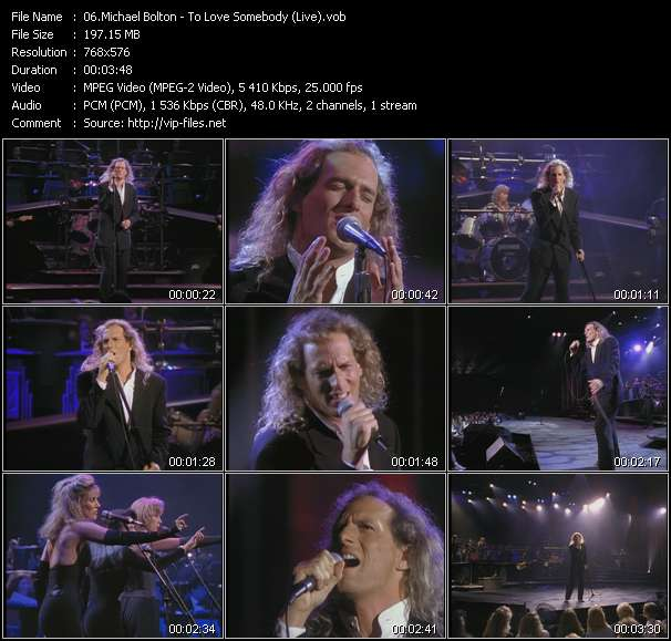 Screenshot of Music Video Michael Bolton - To Love Somebody (Live)