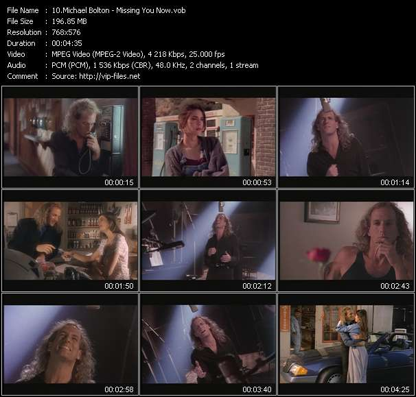Screenshot of Music Video Michael Bolton - Missing You Now