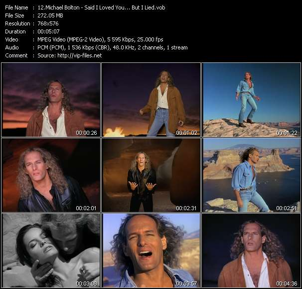 Screenshot of Music Video Michael Bolton - Said I Loved You... But I Lied
