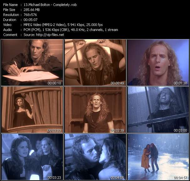 Screenshot of Music Video Michael Bolton - Completely