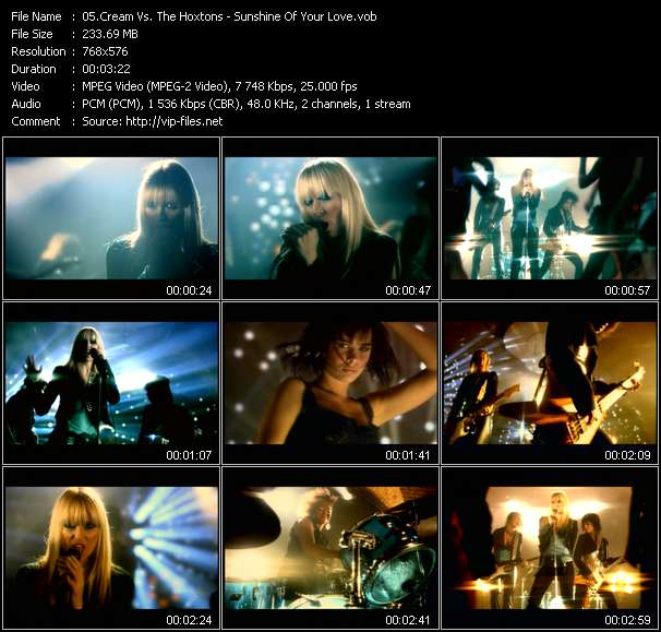 Screenshot of Music Video Cream Vs. The Hoxtons - Sunshine Of Your Love