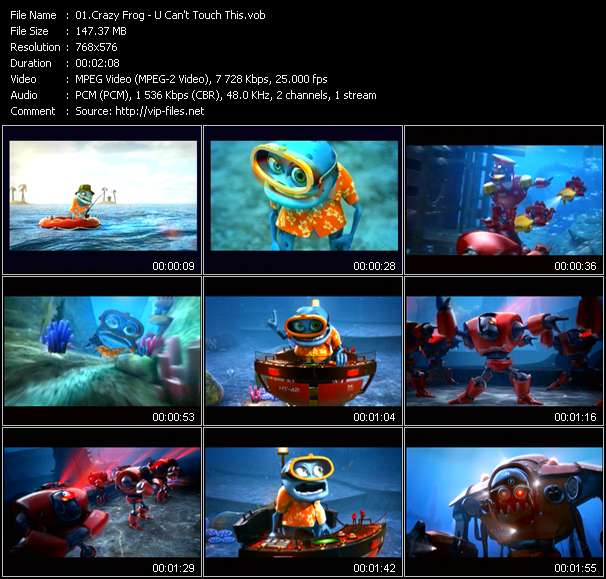 Screenshot of Music Video Crazy Frog - U Can't Touch This