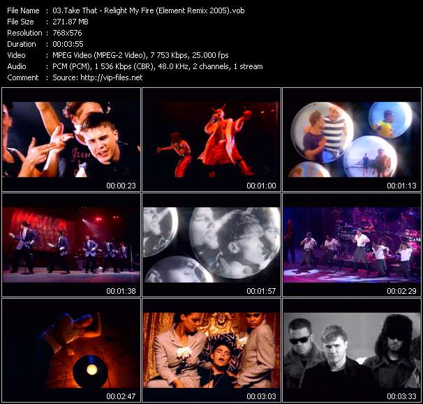 Screenshot of Music Video Take That - Relight My Fire (Element Remix 2005)