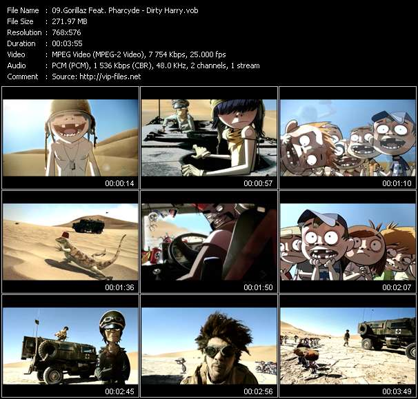 Screenshot of Music Video Gorillaz Feat. Pharcyde - Dirty Harry