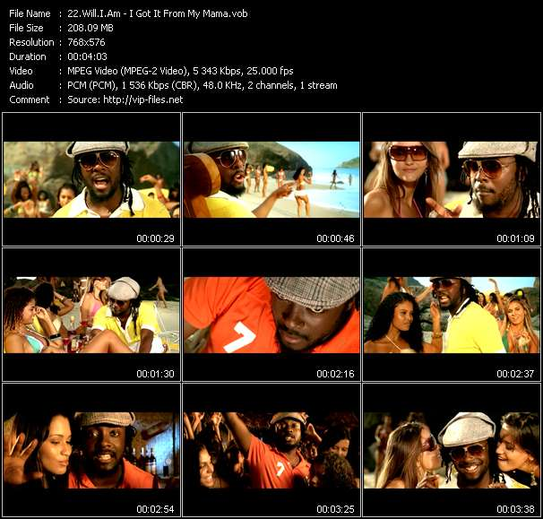Screenshot of Music Video Will.I.Am - I Got It From My Mama