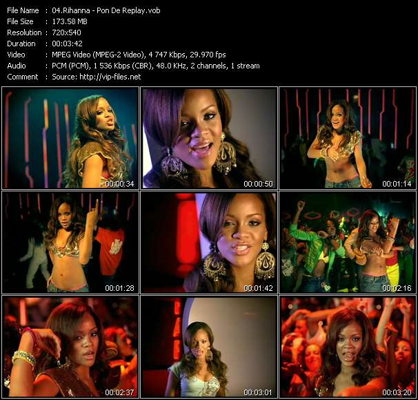 Screenshot of Music Video Rihanna - Pon De Replay