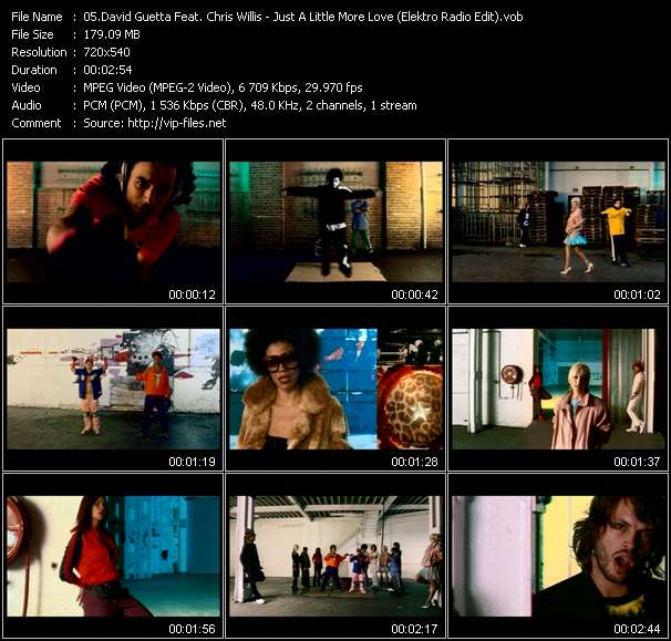 Screenshot of Music Video David Guetta Feat. Chris Willis - Just A Little More Love (Elektro Radio Edit)