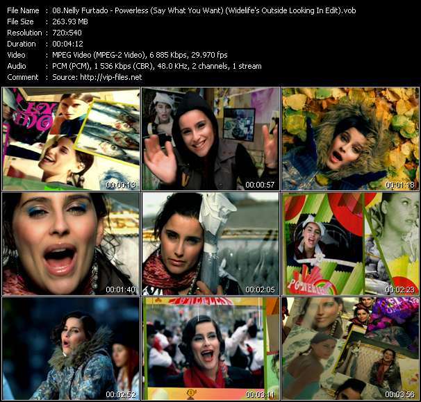 Screenshot of Music Video Nelly Furtado - Powerless (Say What You Want) (Widelife's Outside Looking In Edit)