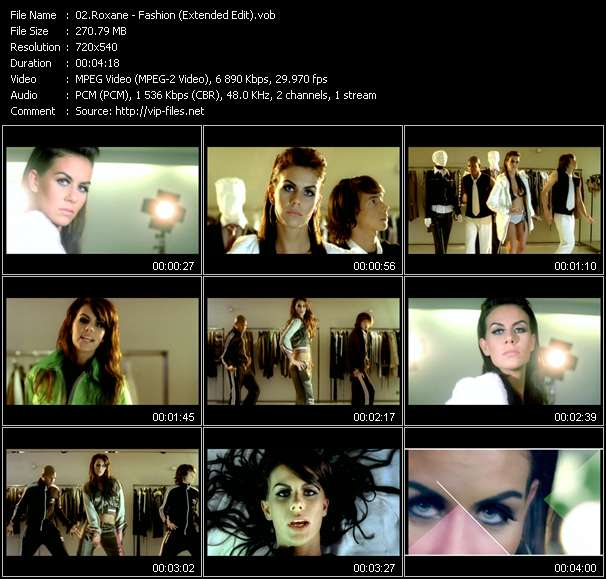 Screenshot of Music Video Roxane - Fashion (Extended Edit)