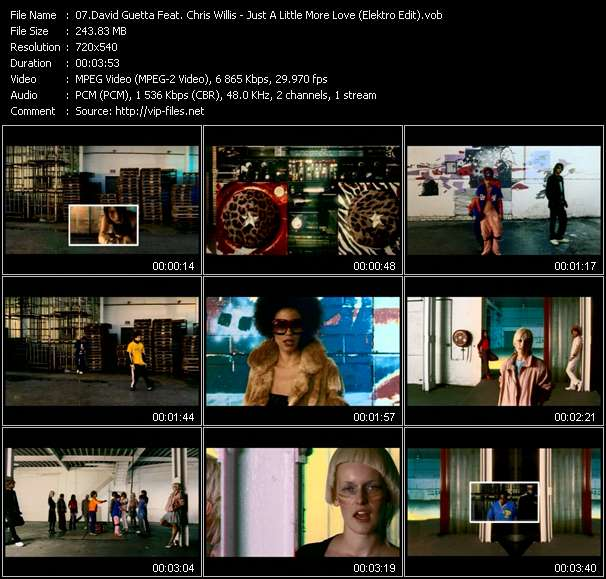 Screenshot of Music Video David Guetta Feat. Chris Willis - Just A Little More Love (Elektro Edit)