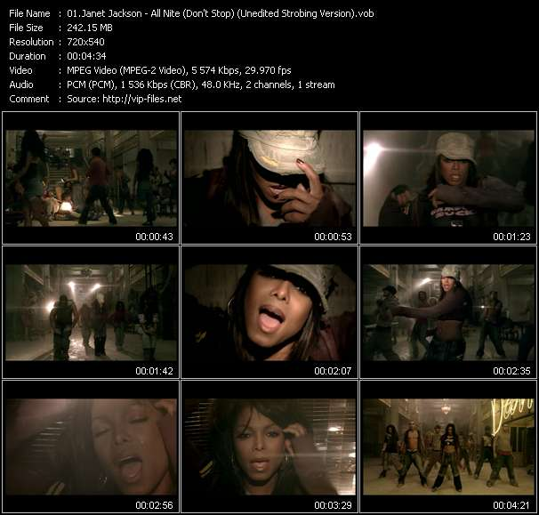 Screenshot of Music Video Janet Jackson - All Nite (Don't Stop) (Unedited Strobing Version)