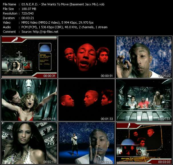 Screenshot of Music Video N.E.R.D. - She Wants To Move (Basement Jaxx Mix)