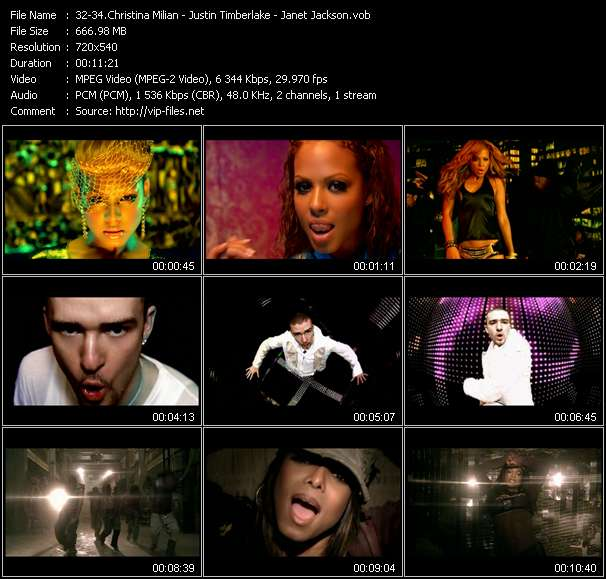 Screenshot of Music Video Christina Milian - Justin Timberlake - Janet Jackson - Dip It Low (JJ Flores Double Extended Rap Less Edit) - Rock Your Body (Paul Oakenfold Edit) - All Nite (Don't Stop)